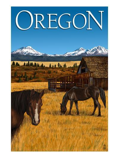 Horses and Mountain - Oregon-Lantern Press-Art Print