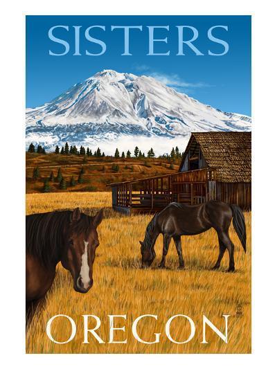 Horses and Mountain - Sisters, Oregon-Lantern Press-Art Print