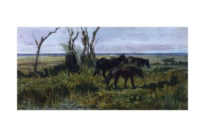 Horses Grazing-Giovanni Fattori-Giclee Print
