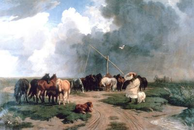 Horses in the Storm, 1862-Karoly Lotz-Giclee Print