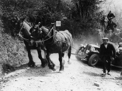 Horses Pulling an MG Up a Hill, C1936