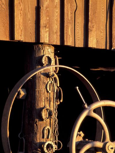 Horseshoes Hang on a Post at the Blacksmith's Shop, Fort Walla Walla Museum, Washington, USA-Brent Bergherm-Photographic Print