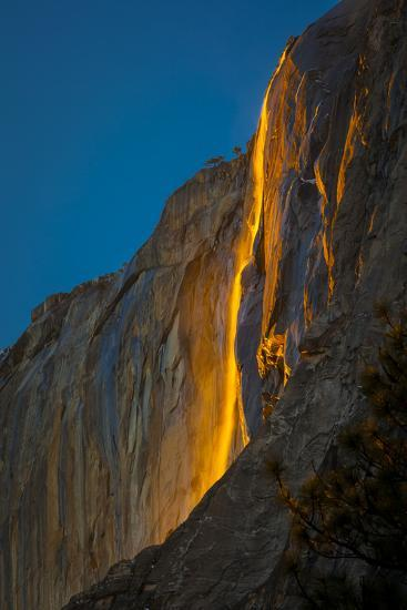 """Horsetail Falls Lit From Behind By The Setting Sun, Creating The Famed """"Firefall""""-Joe Azure-Photographic Print"""