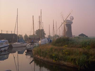 Horsey Wind Pump and Boats Moored on the Norfolk Broads at Dawn, Norfolk, England, United Kingdom-Miller John-Photographic Print