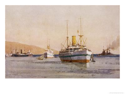 Hospital Carrier Ships Transporting Wounded from the Mainland to Rest Camps-Norman Wilkinson-Giclee Print