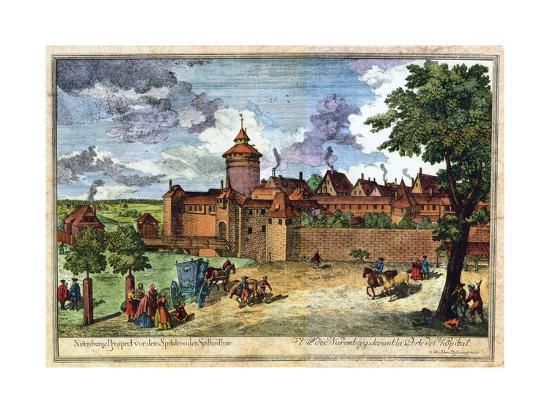 Hospital Gate, Nuremberg, Germany, 17th or 18th Century-John Adam-Giclee Print