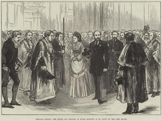 Hospital Sunday, the Prince and Princess of Wales Received at St Paul's by the Lord Mayor--Giclee Print