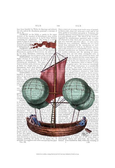 Hot Air Balloon Airship With Red Sail-Fab Funky-Art Print