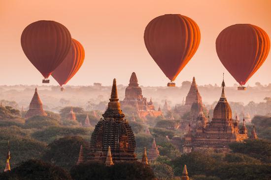 Hot Air Balloon over Plain of Bagan in Misty Morning, Myanmar-lkunl-Photographic Print