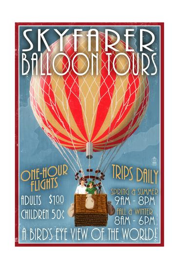 Hot Air Balloon Tours - Vintage Sign-Lantern Press-Art Print