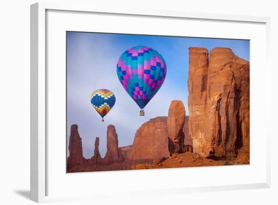 Hot Air Balloons Drifting, Navajo Tribal Park, Arizona, USA-Brian Jannsen-Framed Photographic Print