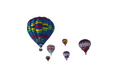 Hot Air Balloons - Icon-Lantern Press-Art Print