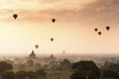 Hot Air Balloons over the Temples of Bagan (Pagan), Myanmar (Burma), Asia-Jordan Banks-Photographic Print