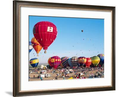 Hot Air Balloons Take Flight, Albuquerque, New Mexico, Usa-Charles Crust-Framed Photographic Print