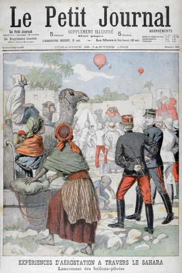 Hot Air Baloons Crossing the Sahara Desert, 1903--Giclee Print