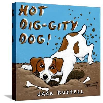 Hot Dig-Gity Dog-Janet Kruskamp-Stretched Canvas Print