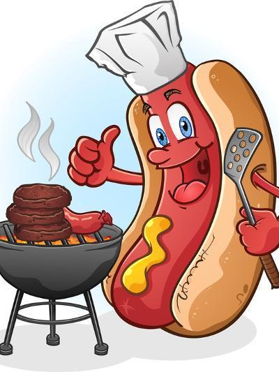 Hot Dog Chef Cartoon Grilling Burgers-Tony Oshlick-Art Print