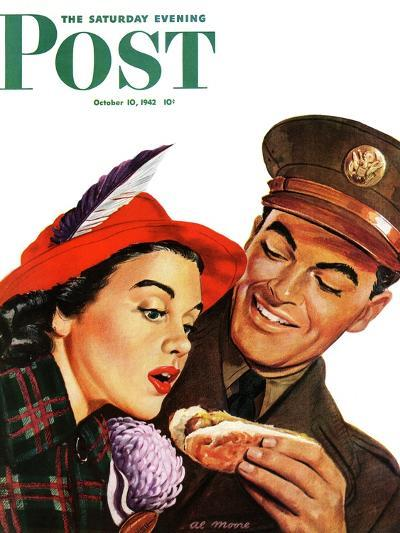 """Hot Dog for a Hot Date,"" Saturday Evening Post Cover, October 10, 1942-Al Moore-Giclee Print"