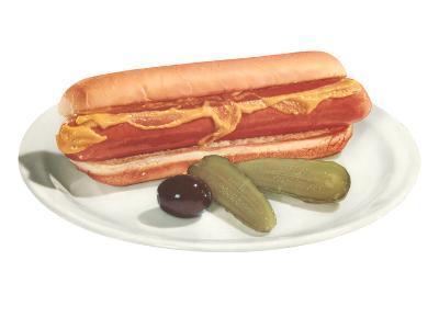 Hot Dog, Pickles, Olive--Art Print