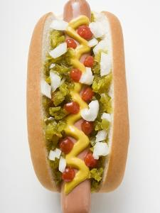 Hot Dog with Relish, Mustard, Ketchup and Onions
