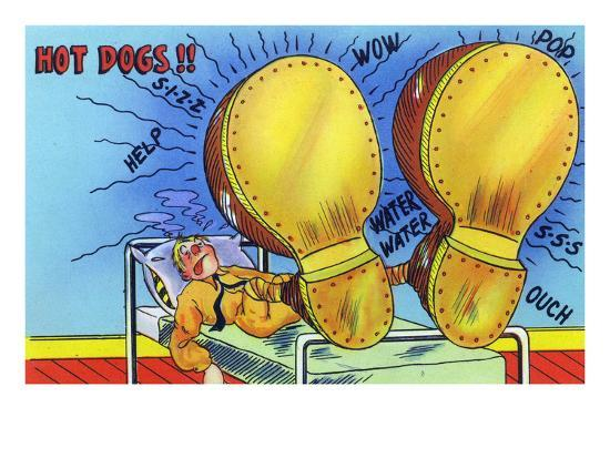 Hot Dogs, Soldier with Sore, Enlarged Feet-Lantern Press-Art Print