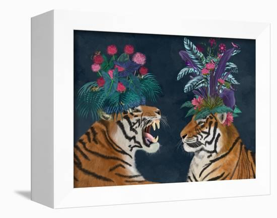 Hot House Tigers, Pair, Dark-Fab Funky-Framed Stretched Canvas