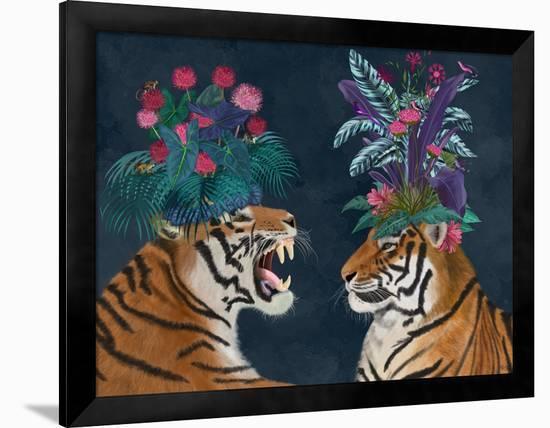 Hot House Tigers, Pair, Dark-Fab Funky-Framed Premium Giclee Print