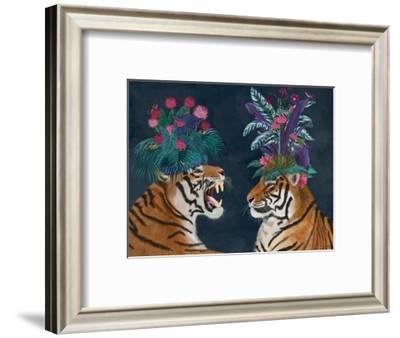 Hot House Tigers, Pair, Dark-Fab Funky-Framed Art Print