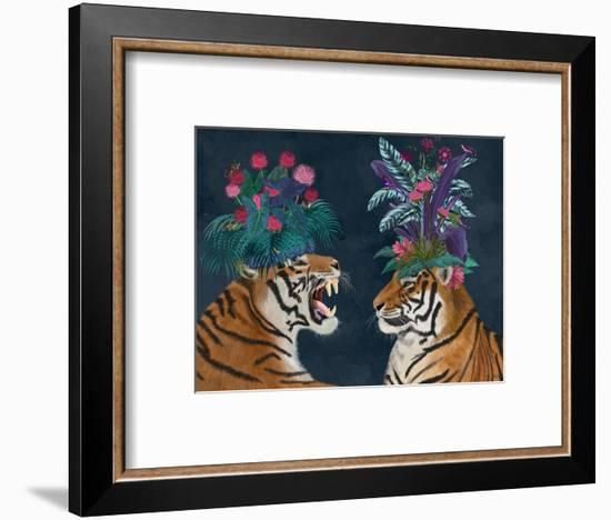 Hot House Tigers, Pair, Dark-Fab Funky-Framed Art Print