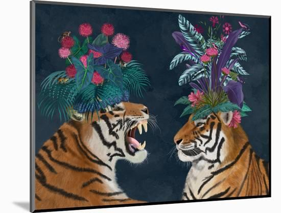 Hot House Tigers, Pair, Dark-Fab Funky-Mounted Art Print