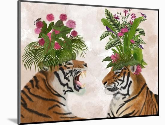 Hot House Tigers, Pair, Pink Green-Fab Funky-Mounted Art Print