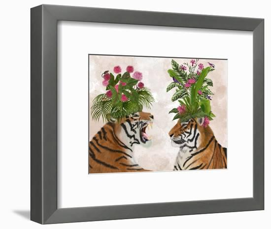 Hot House Tigers, Pair, Pink Green-Fab Funky-Framed Premium Giclee Print