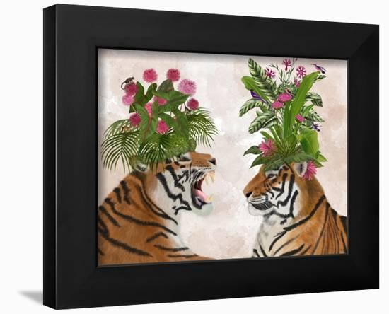 Hot House Tigers, Pair, Pink Green-Fab Funky-Framed Art Print