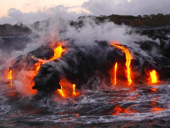 Hot Magma Spills into the Sea from under a Hardened Lava Crust-Patrick McFeeley-Premium Photographic Print
