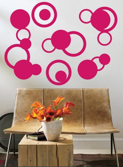 Hot Pink Rings--Wall Decal