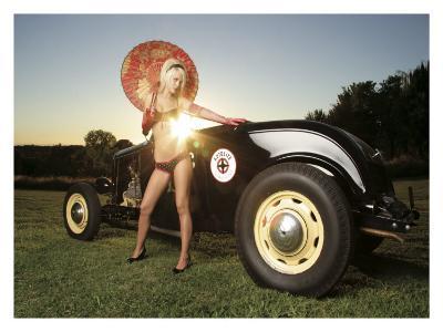 Hot Rod Pin-Up Girl-David Perry-Giclee Print