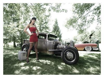 Hot Rod Pin-Up Girl-David Perry-Giclee Print