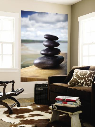 Hot Stones Spa Treatment at St. Brides Hotel and Spa with Saundersfoot Beach in Background-Huw Jones-Wall Mural