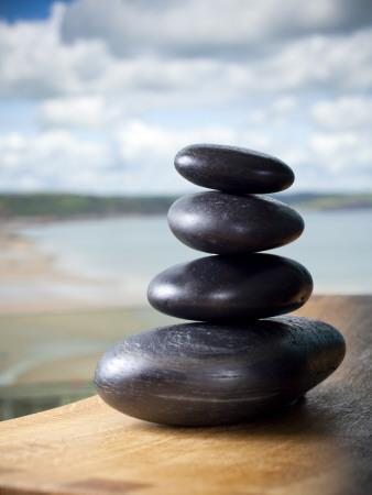 Hot Stones Spa Treatment at St. Brides Hotel and Spa with Saundersfoot Beach in Background-Huw Jones-Premium Photographic Print