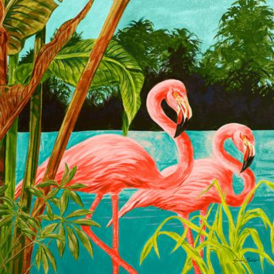 Hot Tropical Flamingo II-Linda Baliko-Art Print