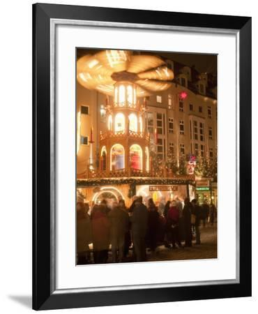 Hot Wine (Gluhwein) Stall With Nativity Scene on Roof at Christmas Market, Dresden, Germany-Richard Nebesky-Framed Photographic Print