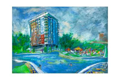 Hotel And Swimming Pool-Boyan Dimitrov-Art Print