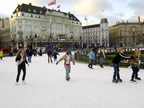 Hotel d'Angleterre and Skating Rink, Kongens Nytorv at Christmas, Copenhagen, Denmark-Sergio Pitamitz-Photographic Print
