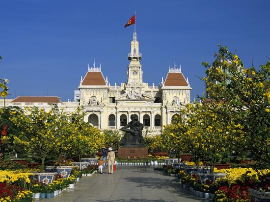 Hotel De Ville (Ho Chi Minh City Hall) Decorated for Chinese New Year, Ho Chi Minh City (Saigon), V-Stuart Black-Photographic Print