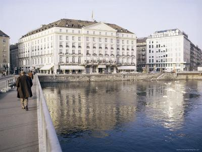 Hotel Des Bergues Beside Lake, Geneva, Switzerland-Richard Ashworth-Photographic Print