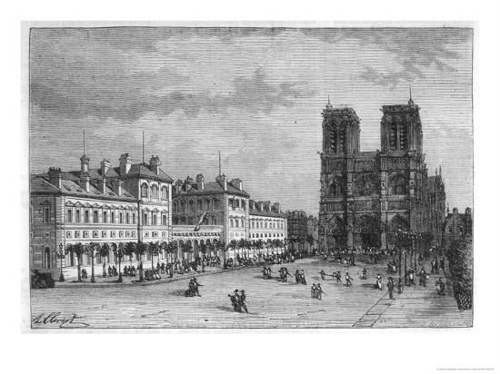 Hotel-Dieu Paris Ground-Level View of the Parvis De Notre-Dame with the Hospital on the Left-Hubert Clerget-Giclee Print