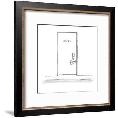 Hotel door with a 'Disturb' sign hanging on the doorknob. - New Yorker Cartoon-Michael Crawford-Framed Premium Giclee Print