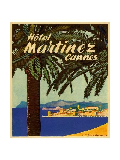 hotel martinez cannes luggage label giclee print by artcom