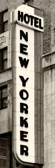 Hotel New Yorker, Signboard, Manhattan, New York, US, Vertical Panoramic View, Sepia Photography-Philippe Hugonnard-Photographic Print