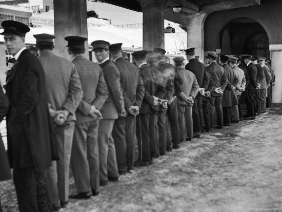 Hotel Porters Waiting For Zurich Arosa Train Arrival-Alfred Eisenstaedt-Photographic Print